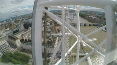 LONDON  JULY 2017: Top view of London city and Thames river seen from moving London Eye Millennium Wheel