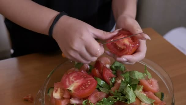 Hands of raw vegan woman slicing tomatoes for season salad healthy diet concept