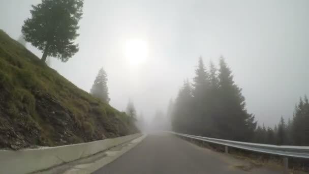 POV Mountain lesní silnici z auta projíždí mlha a mlha v pochmurný den