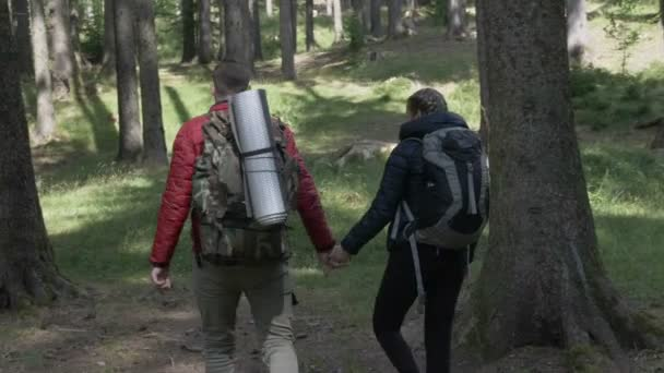 Couple of young hikers with backpacks walking in adventure mountain trail enjoying nature
