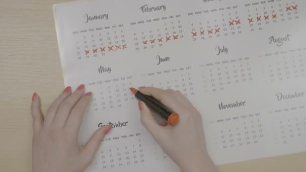 Pohled shora rukou dospívající dívka s červenými nehty označení budoucí data období v kalendáři se vyhnout nechtěné těhotenství