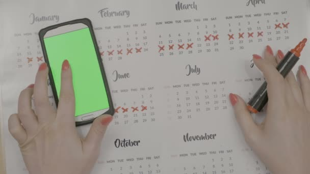 Top view of young entrepreneur girl hands checking green screen smartphone and marking calendar days off with red marker