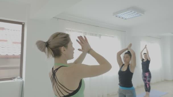 Skutečné ženy stojí stále na pilates mat a dělal jógu ve fitness studiu