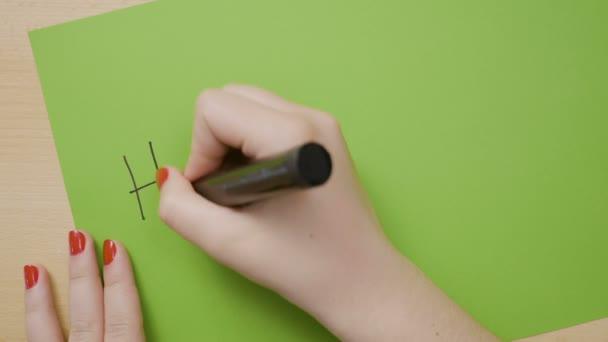 Frauenhände mit roter Maniküre schreiben frohe Ostern in Großbuchstaben auf grünem Papier mit schwarzem Filzstift