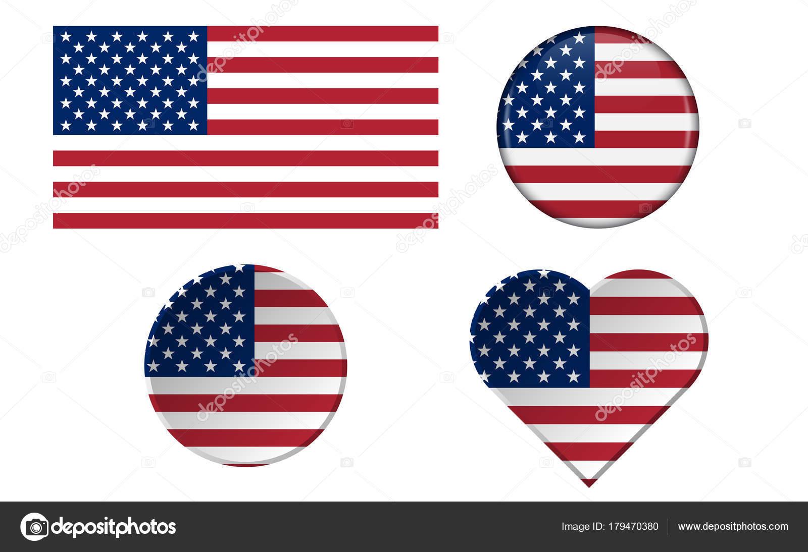 Satz von amerikanischen Flaggen in verschiedenen Formen mit Rahmen ...