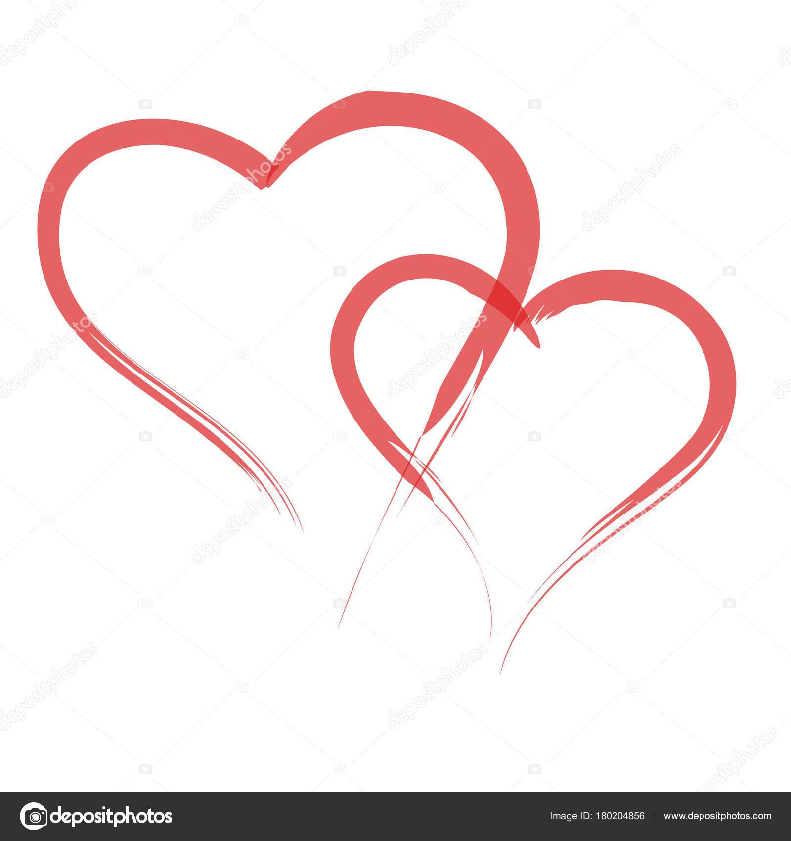 Kalp şeklini çizmek Için Aşk Sembolleri Stok Vektör