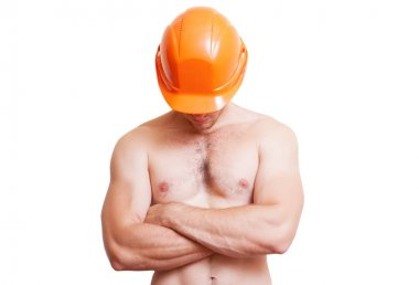 Attractive young man in a helmet,