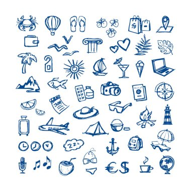travel - flat icons for web. Tourism - sketch set for hotels and travel agencies. hand drawn linear pictures for travel