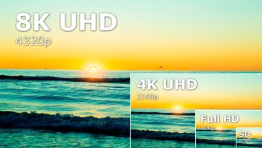 Compare of television resolution. uhd 8k television resolution ultra hd concept