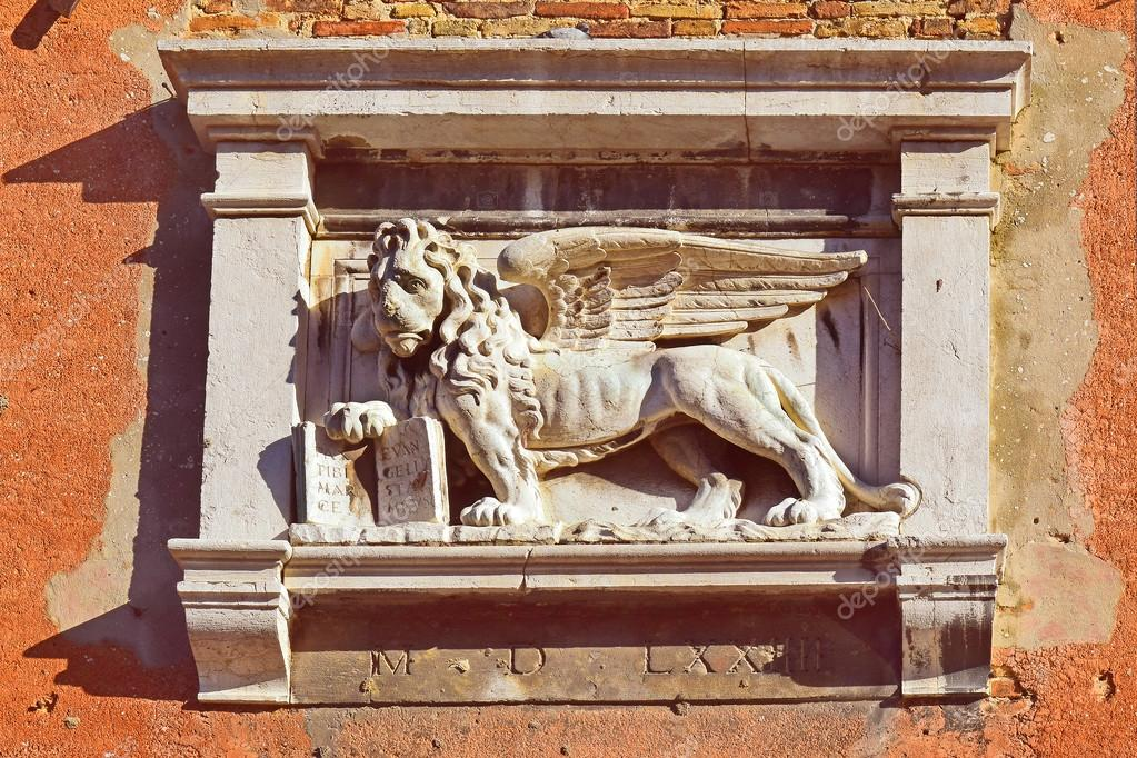 Symbol Of Venice The Winged Lion Of St Mark Stock Photo