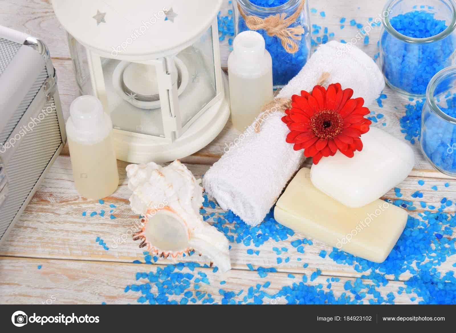 gerber rouge fleur de sel de mer bleu pour salle de bain et mini