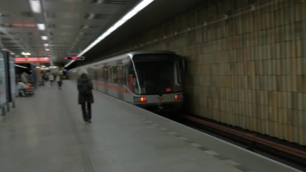 View of moving away subway train on the station. Prague, Czech Republic