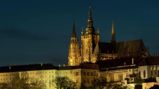 Timelapse of illuminated Prague Castle at night