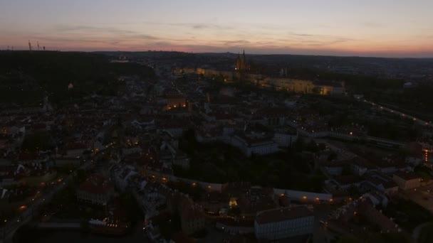 Prague aerial view in the dusk, Czech Republic