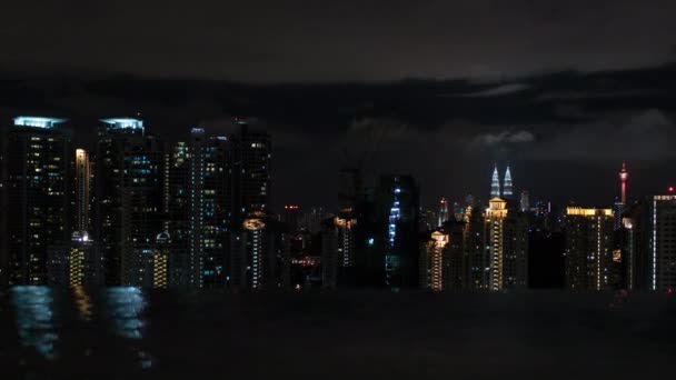 Timelapse of night Kuala Lumpur, view from rooftop pool