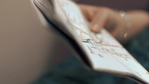 Cestující s mapou metra ve vlaku