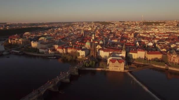 Prague view and Charles Bridge, aerial shot