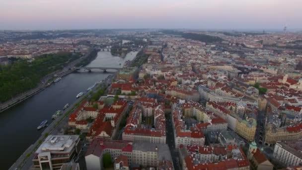 Letecký snímek Praha a Vltava River, Česká republika