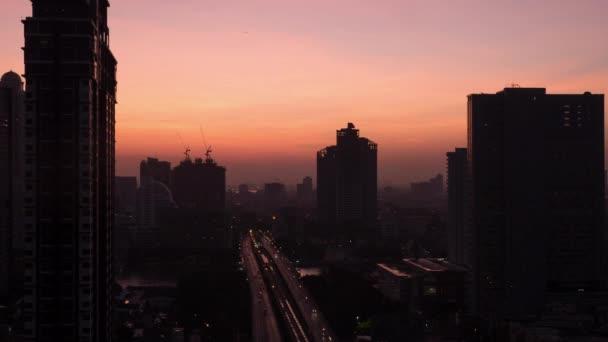 TimeLapse reggel változó éjszaka Bangkok, Thaiföld