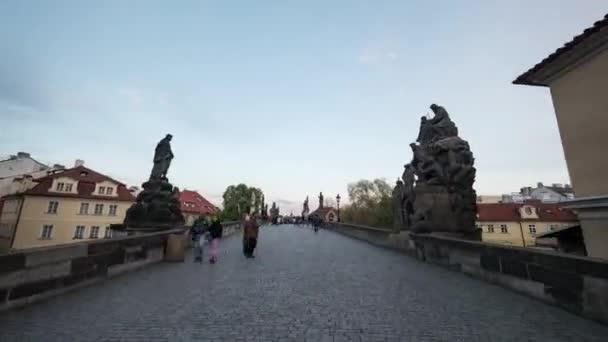 Hyperlapse of walking across Charles Bridge in Prague