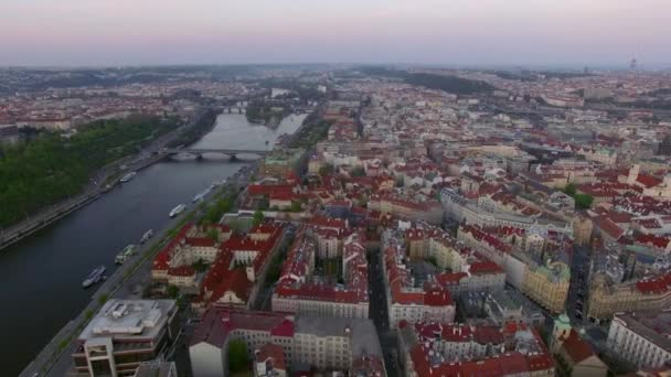 Aerial shot of Prague and Vltava river, Czech Republic