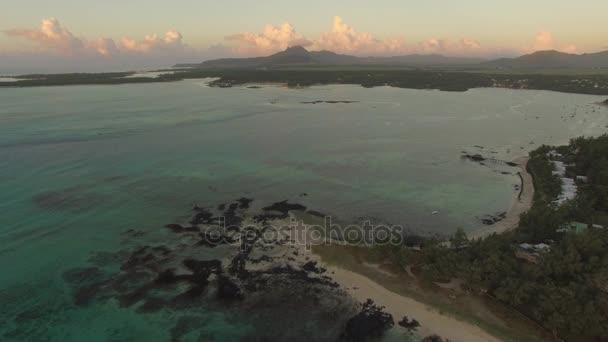 Modrá Laguna a Mauricius pobřeží, letecký pohled