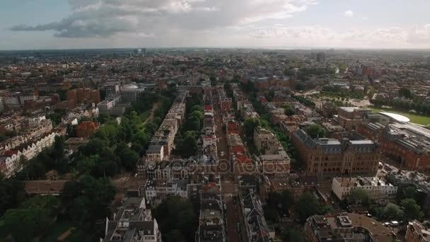 Letecký panoramatický pohled na Amsterdam, Nizozemsko