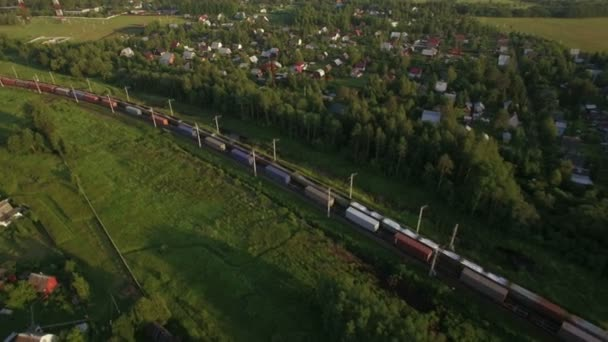 Cargo trains traveling in the countryside, Russia