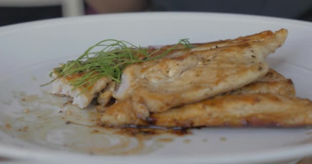 Dining With Chicken Dish In The Restaurant Stock Video Danr13