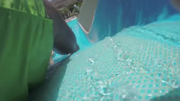 Exciting ride on water slide