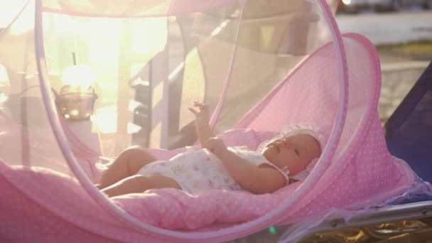 Baby in rosa stubenwagen outdoor im sommer u2014 stockvideo © danr13