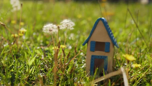 Toy house on green lawn as symbol of eco-home