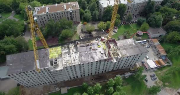 Construction of the apartment house, aerial view