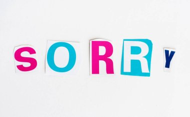 Sorry cut from newspaper letters isolated