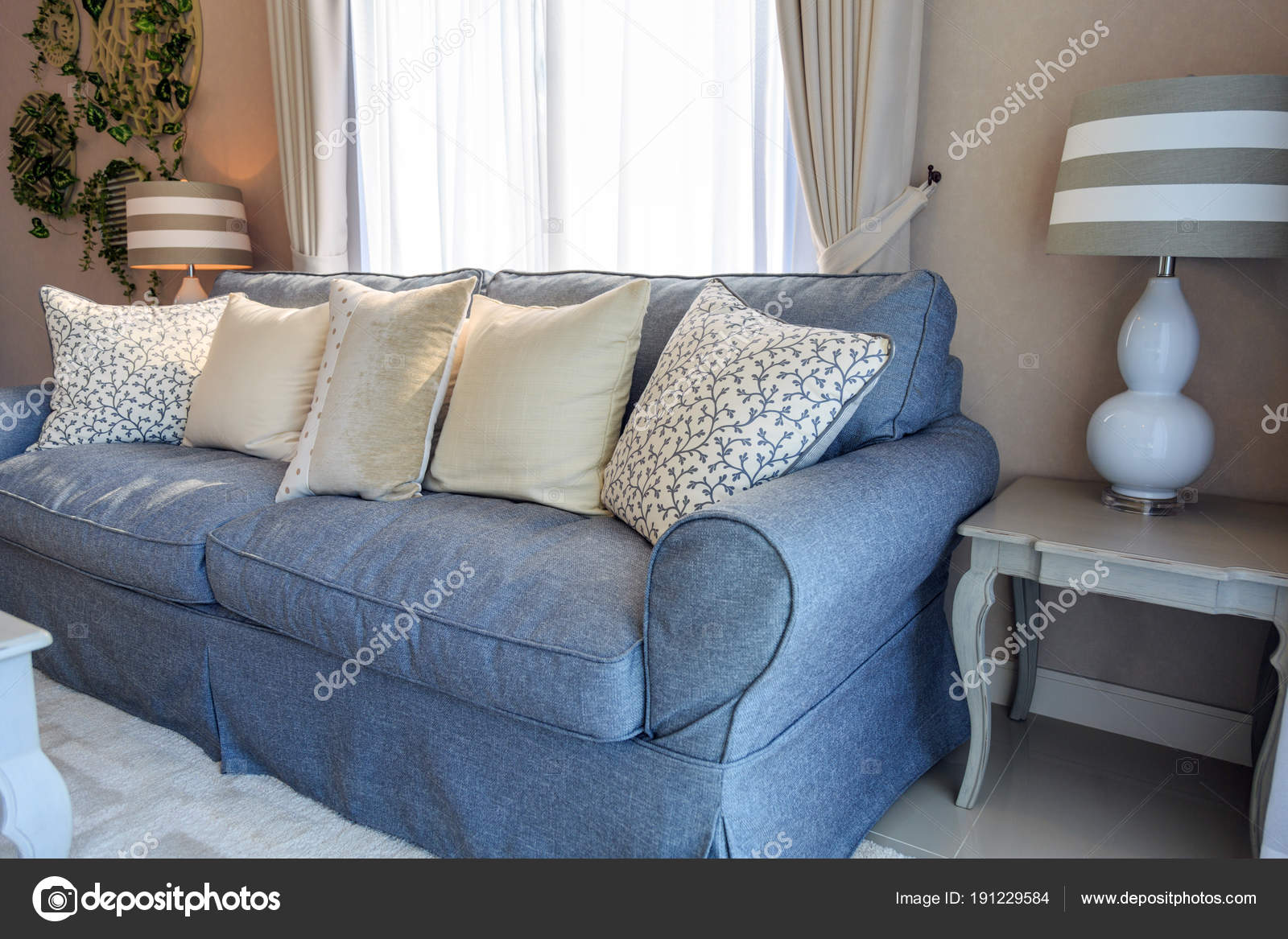 Beige Pillows On Blue Fabric Sodfa With Lamp In Living Room Stock Photo Image By Tisomboon Hotmail Com 191229584