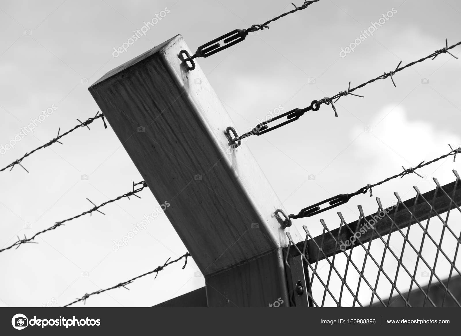 Monochrome: Barbed wire fence — Stock Photo © YMCPhoto #160988896