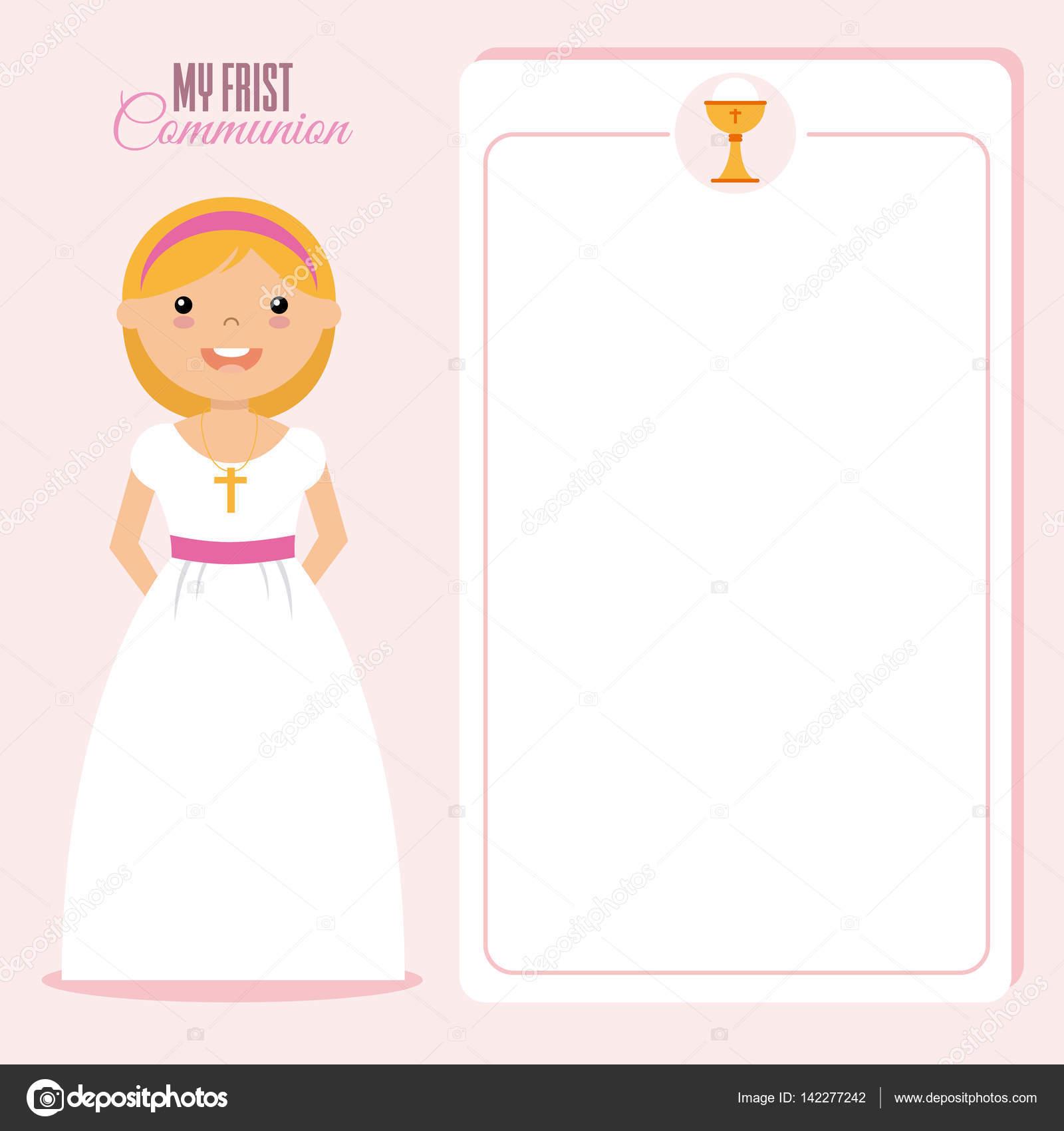 bd29f7e8378 mi primera niña comunión — Archivo Imágenes Vectoriales © sbego ...