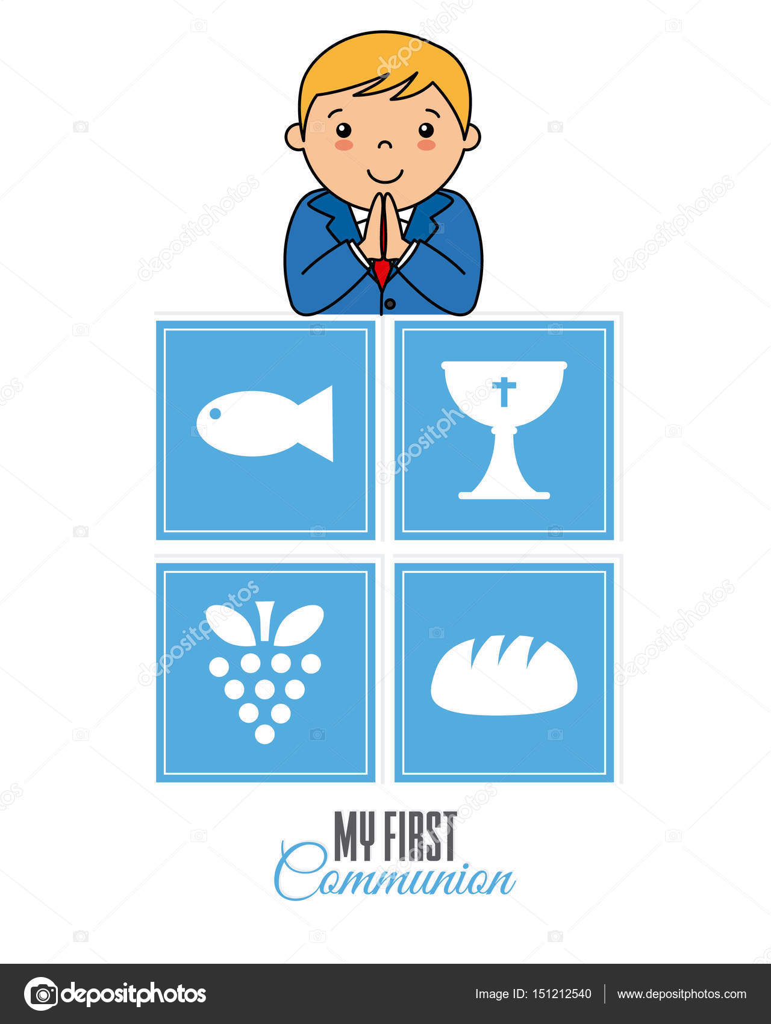 My first communion boy stock vector. Illustration of