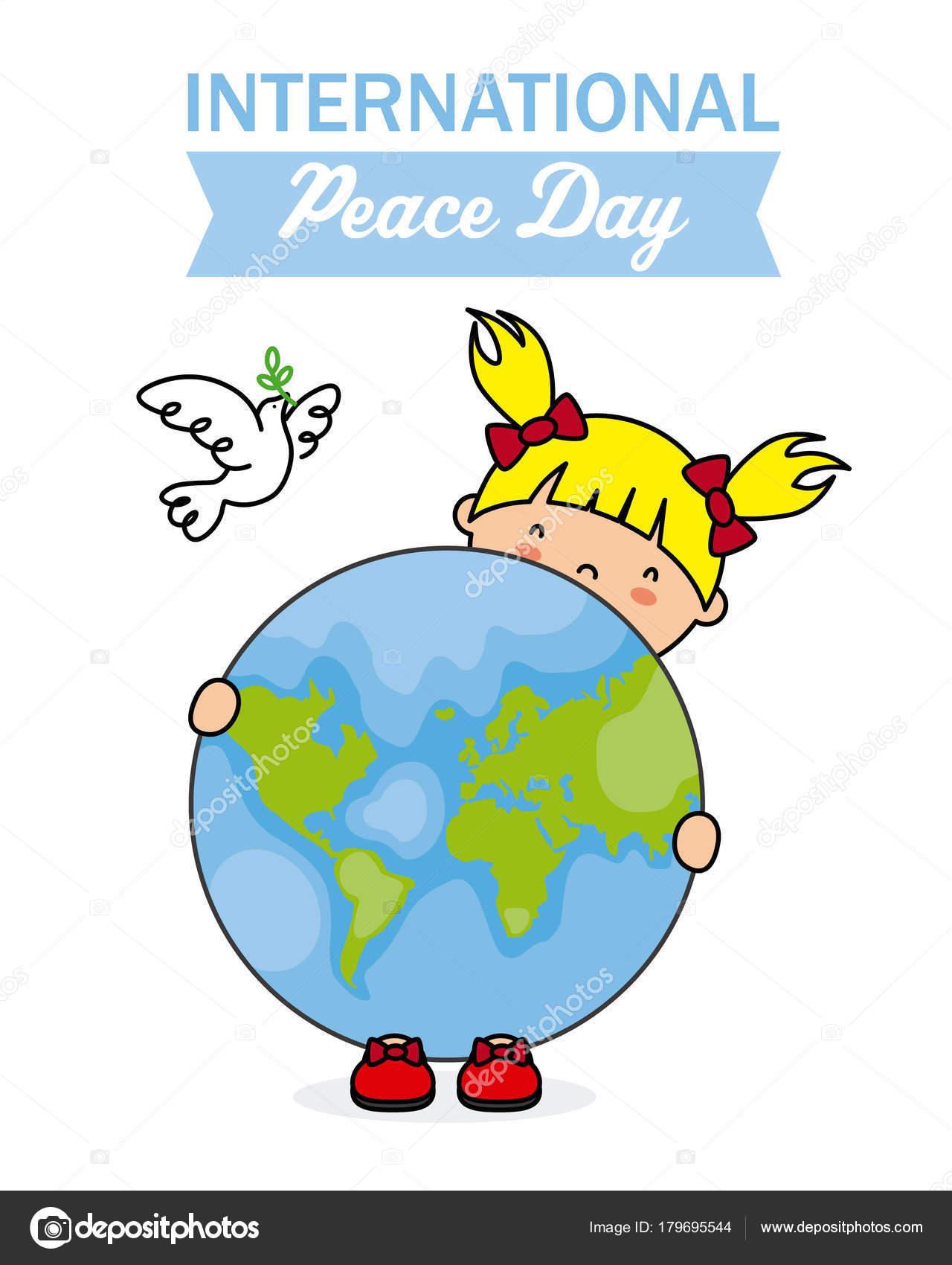 Día Internacional Paz Niña Sosteniendo Bola Del Mundo