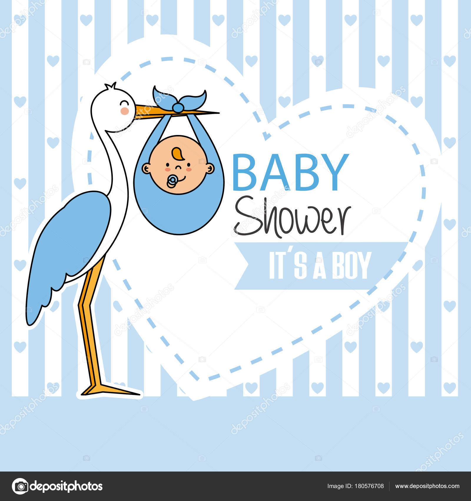 Baby Shower Stork Baby Boy U2014 Stock Vector