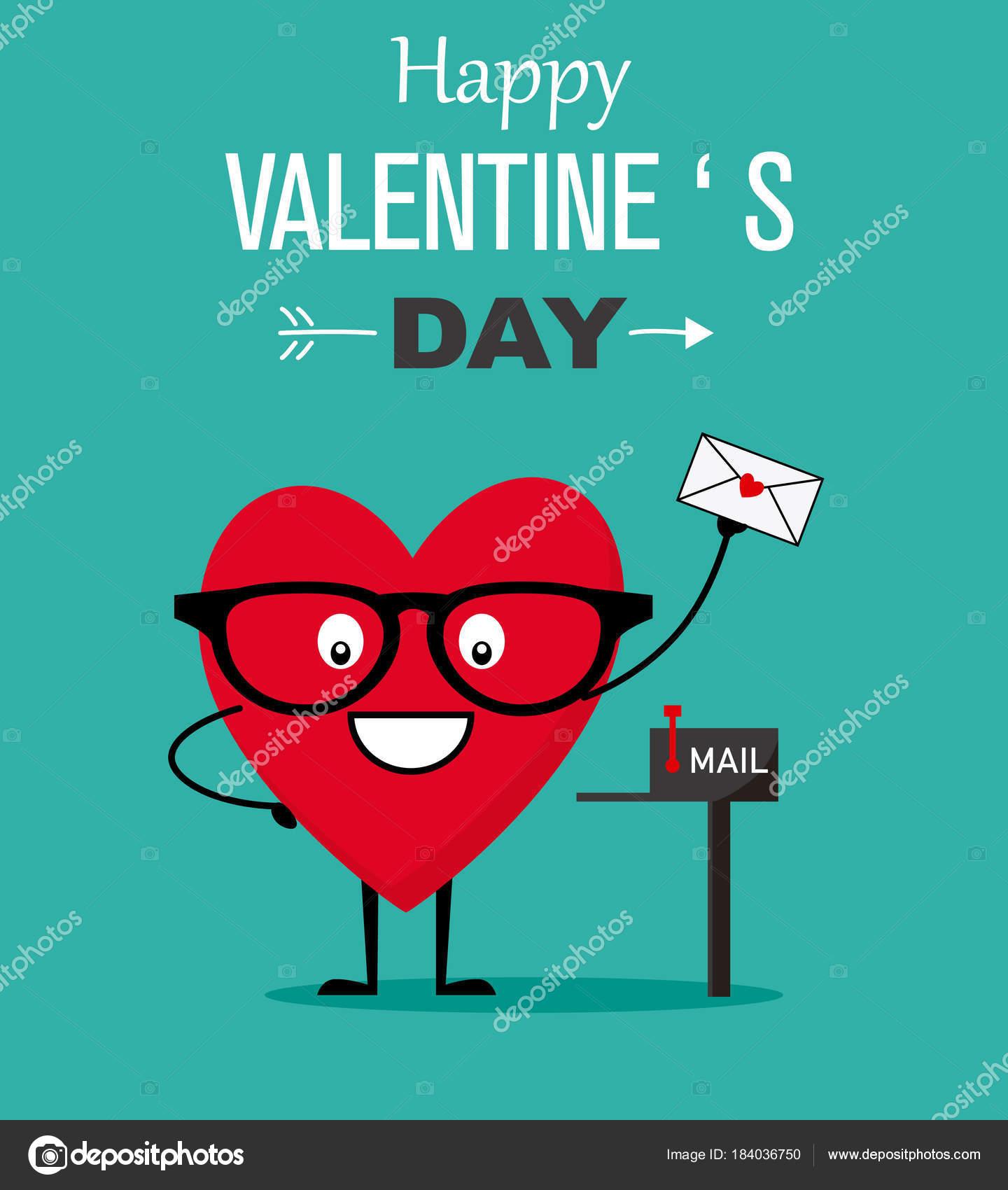 Tarjeta Divertida Del Día San Valentín Enviar Carta Amor Del ...