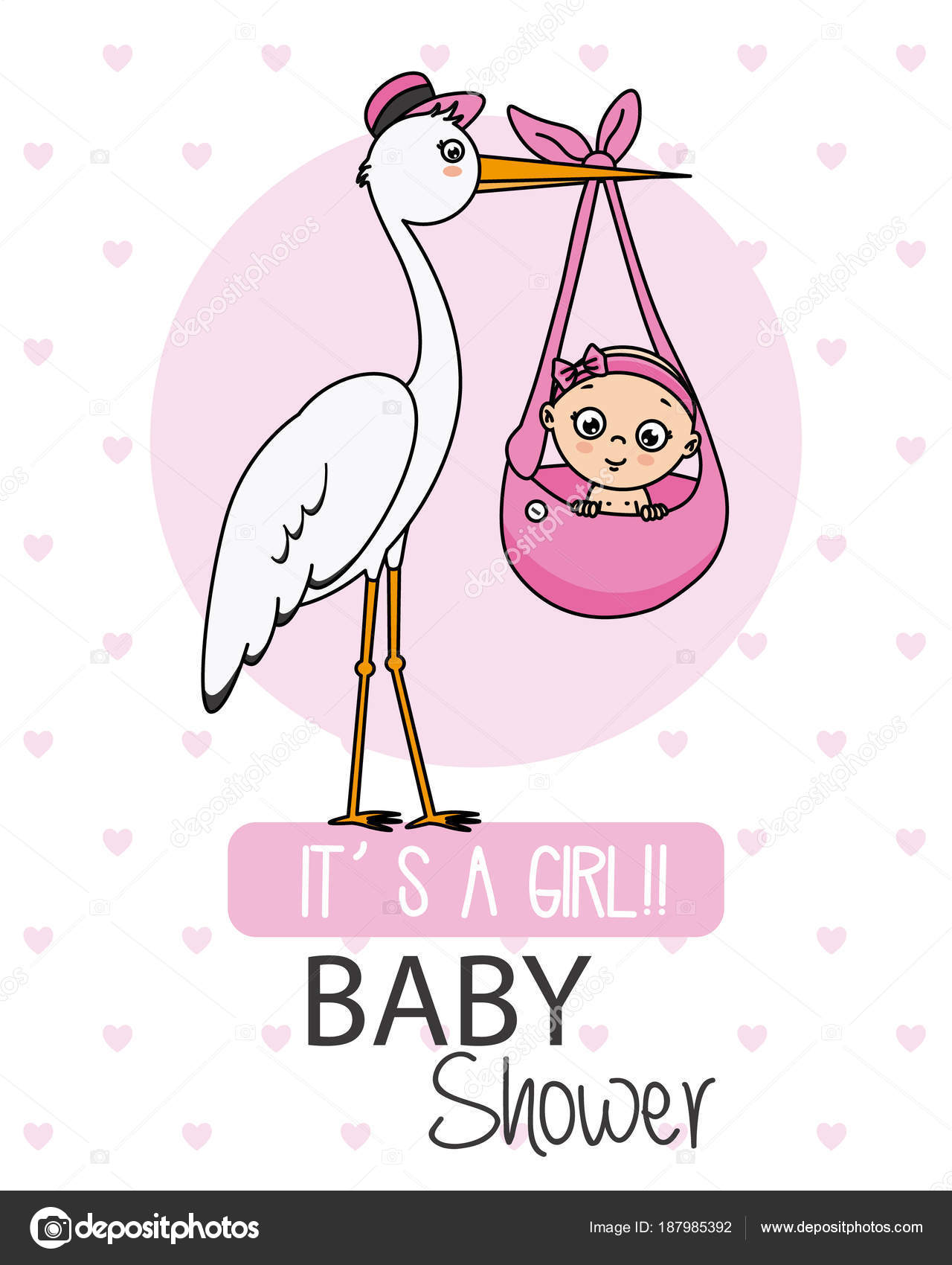 Baby Shower Card Stork Baby Girl Stock Vector Sbego 187985392