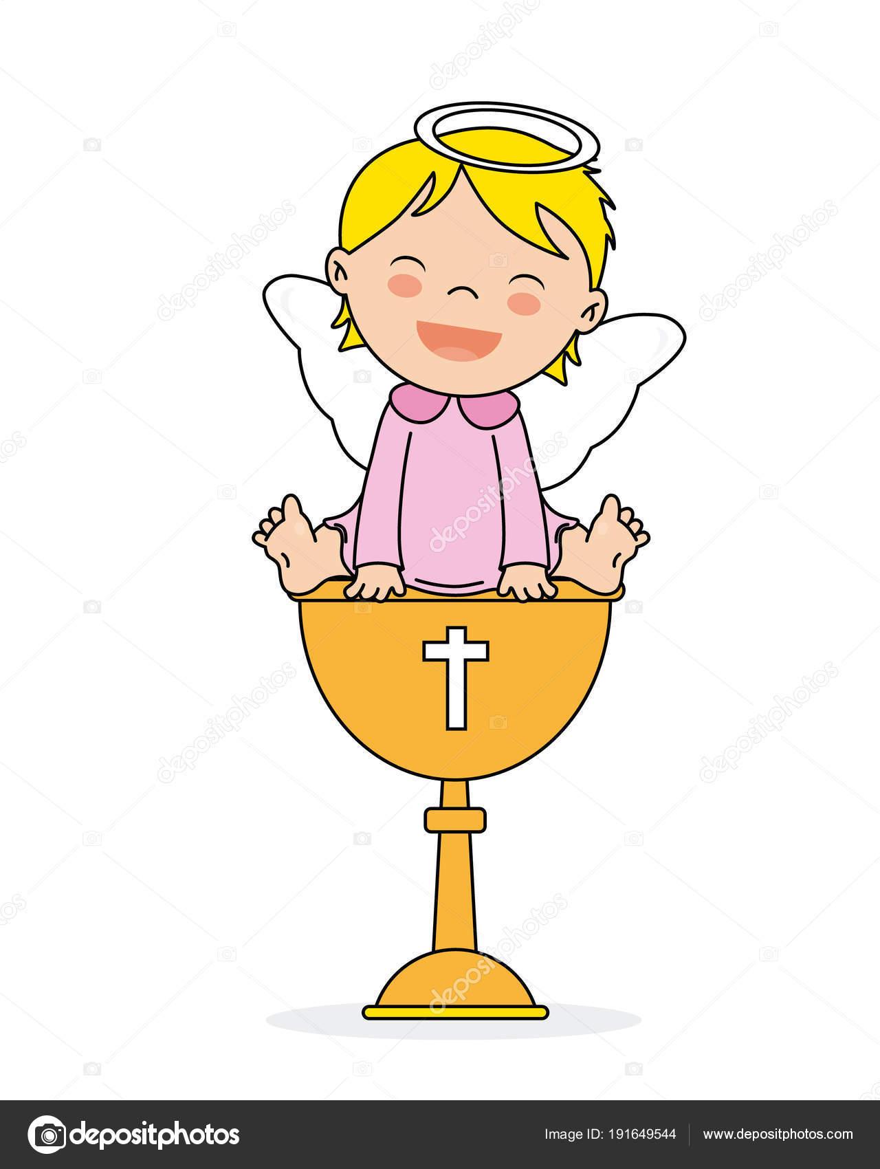 Tarjeta Invitación Bautismo Niña Sonriente ángel Sentado