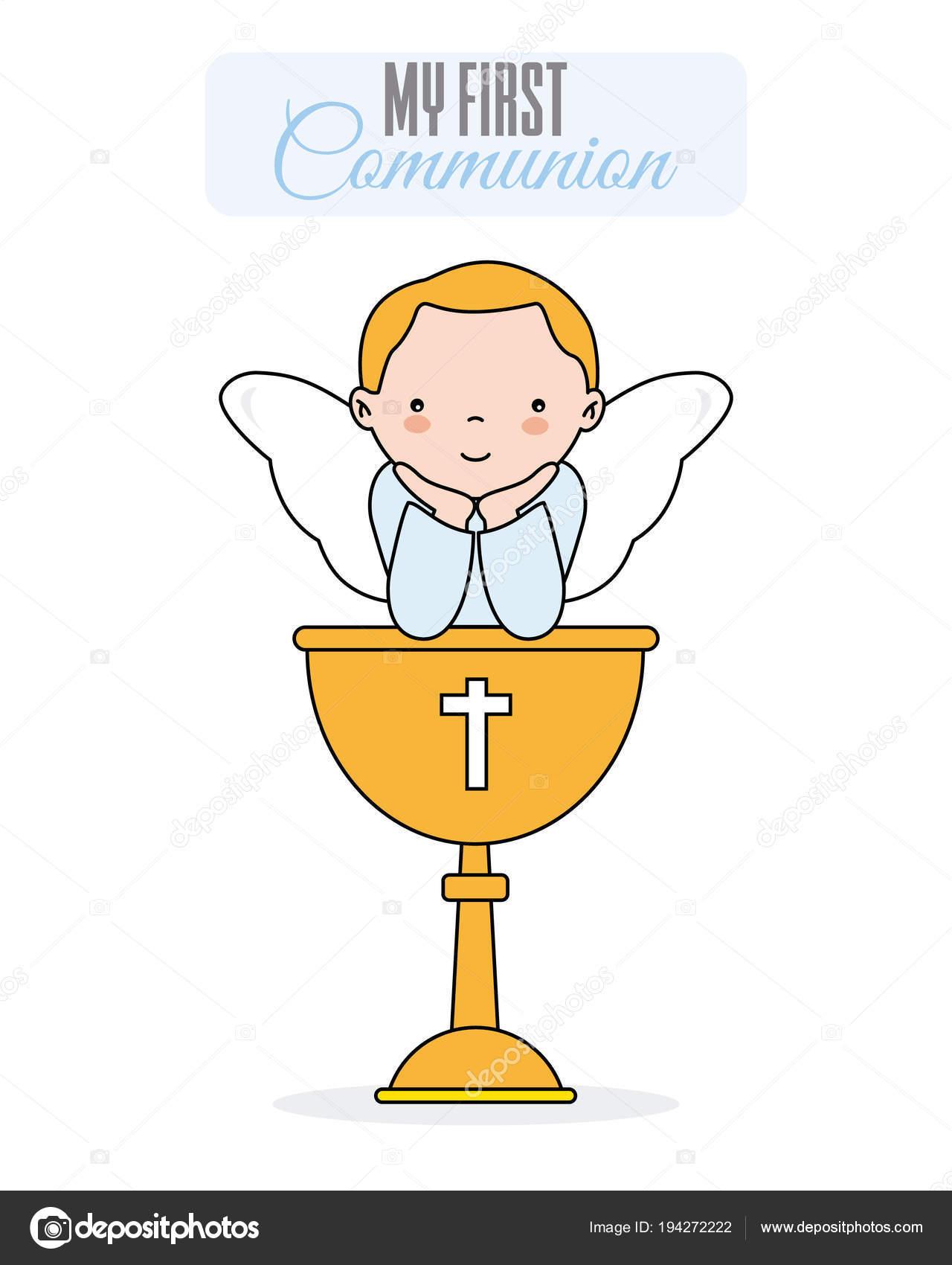 cartão convite batismo menina anjo sentado sobre cálice sorrir