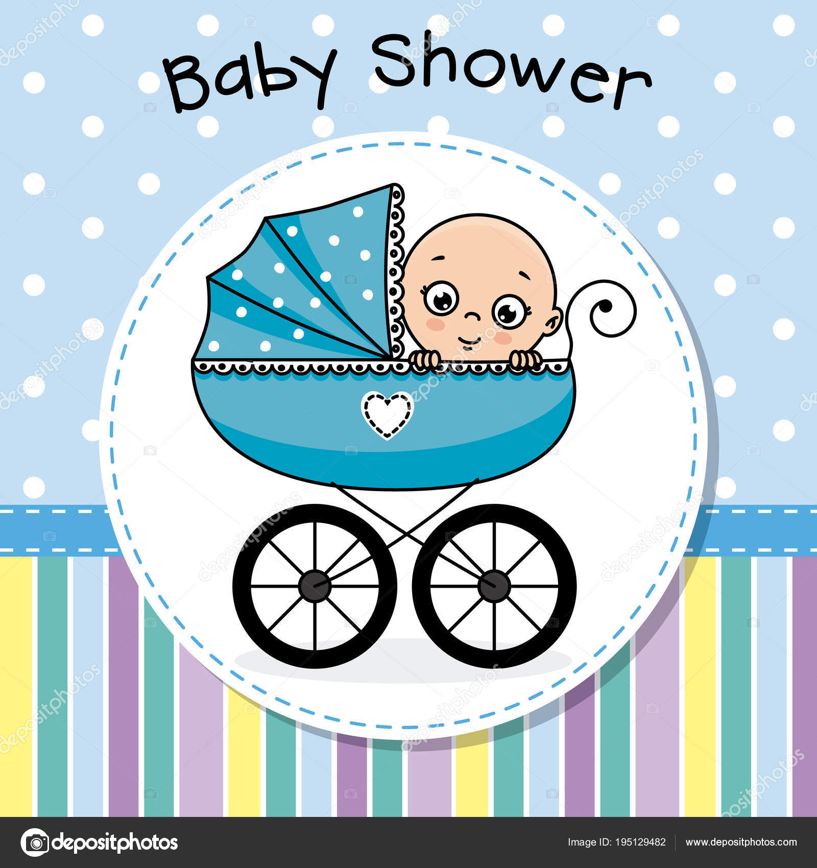 Baby Shower Baby Boy Baby Carriage Stock Vector