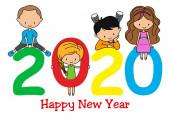Šťastný Nový rok2020. Děti si hrají s čísly