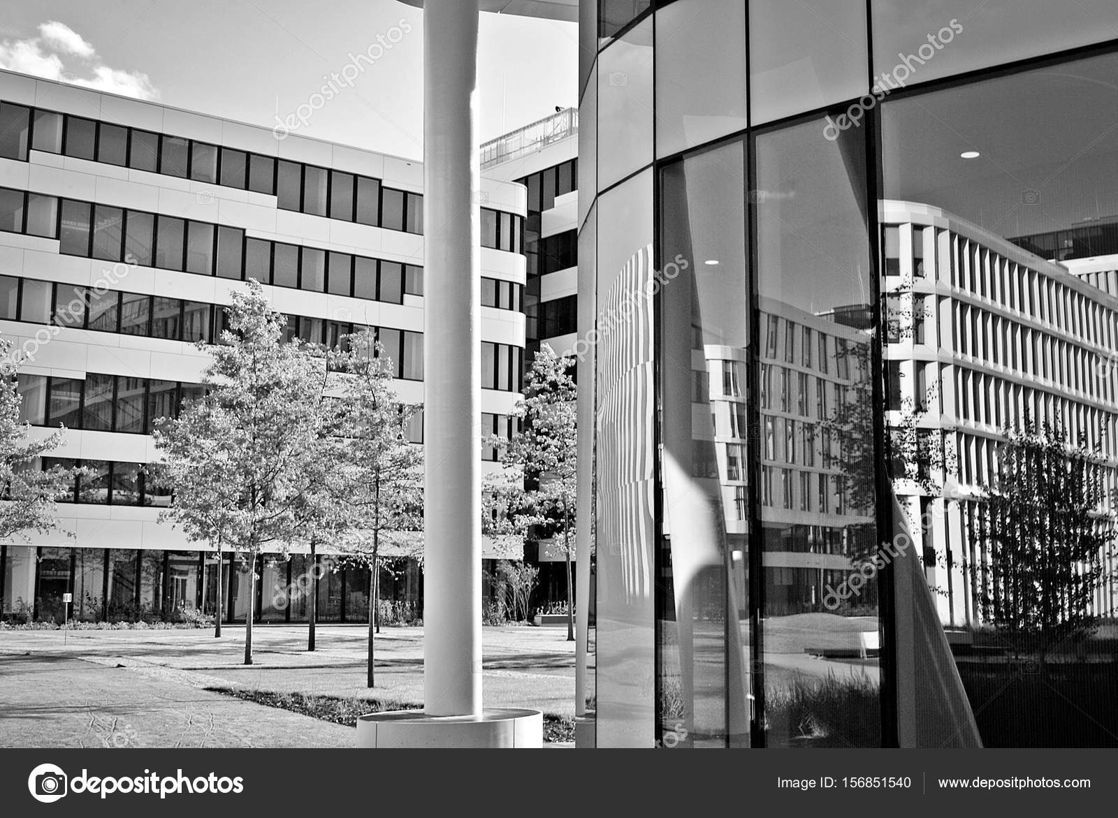 Modern Building Modern Office Building With Facade Of Glass Black And White Stock Photo C Grand Warszawski 156851540