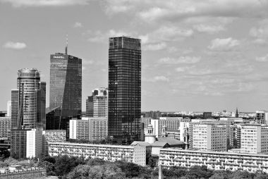 View of the modern city center. Black and white.
