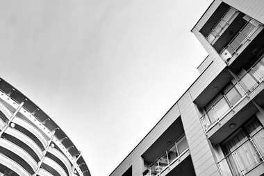Modern office building. Black and white