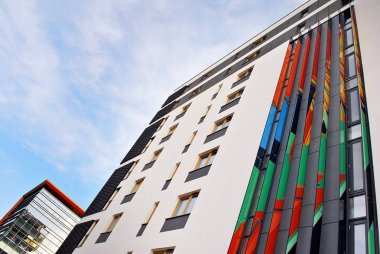Modern, Luxury Apartment Building against blue sky